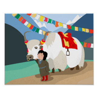 A child and best friend pet Tibetan yak colorful Poster