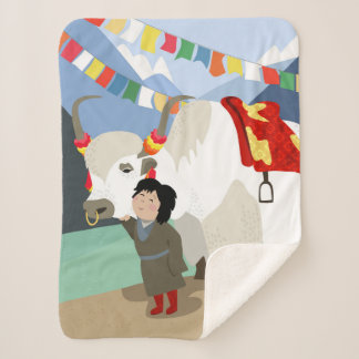 A child and best friend pet Tibetan yak colorful Sherpa Blanket