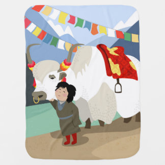 A child and best friend pet Tibetan yak colorful Stroller Blanket