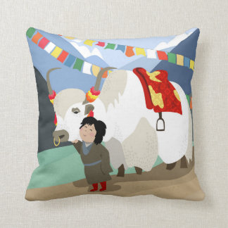 A child and best friend pet Tibetan yak colorful Throw Pillow