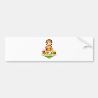 A child eating at a fastfood restaurant bumper stickers