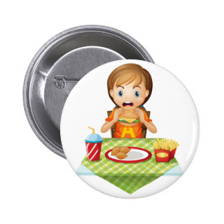 A child eating at a fastfood restaurant pinback button