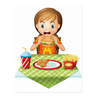 A child eating at a fastfood restaurant postcards