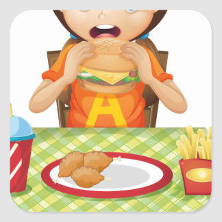 A child eating at a fastfood restaurant sticker