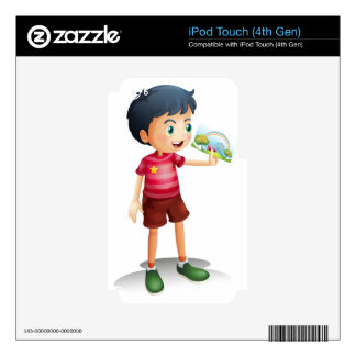 A child holding an image decal for iPod touch 4G