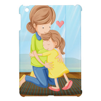 A child hugging her mother case for the iPad mini