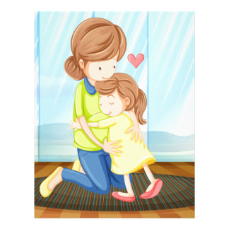 A child hugging her mother letterhead