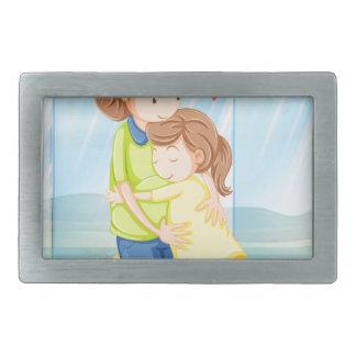 A child hugging her mother rectangular belt buckle