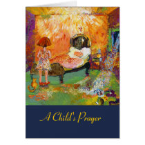 children, child, girls, prayers, child prayer, teachable, motivational, artsy, fine art cards, red, yellow, colorful, religious, christian, christianity, ginette, praying, god, jesus, lord, messages, bedtime, clown, cat, room, playing, values, Card with custom graphic design