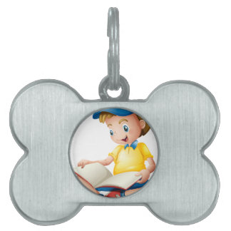 A child reading pet tags