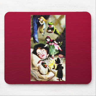 A child sleeping and people around mouse pads