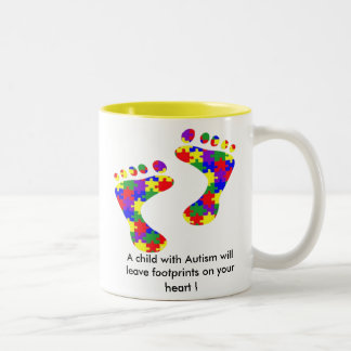 A child with Autism will leave footprints......... Two-Tone Coffee Mug
