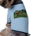 A child's playing equipment in a green location dog tee
