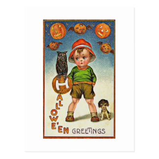 A Child's Spooky Vintage Halloween Postcard