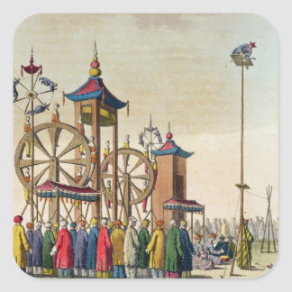 A Chinese circus, illustration from 'Le Costume An Square Sticker