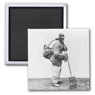 A Chinese day labourer, c.1870 (b/w photo) 2 Inch Square Magnet