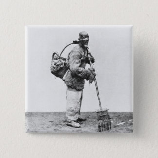 A Chinese day labourer, c.1870 (b/w photo) Button