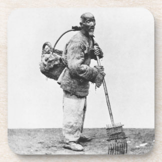 A Chinese day labourer, c.1870 (b/w photo) Drink Coaster