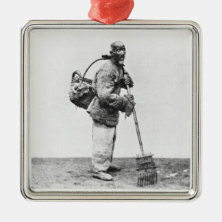 A Chinese day labourer, c.1870 (b/w photo) Metal Ornament