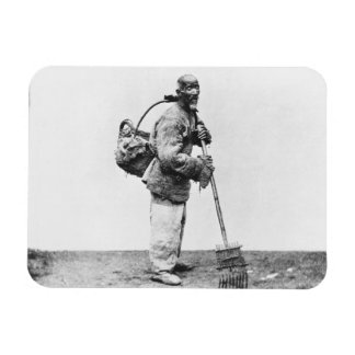 A Chinese day labourer, c.1870 (b/w photo) Rectangular Photo Magnet