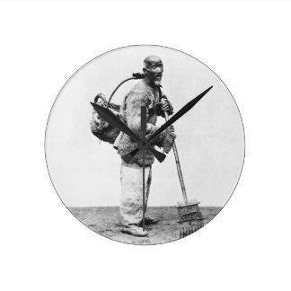 A Chinese day labourer, c.1870 (b/w photo) Round Clock