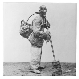 A Chinese day labourer, c.1870 (b/w photo) Tile