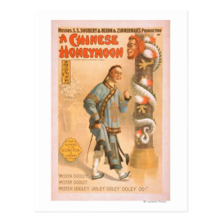 """""""A Chinese Honeymoon"""" Theatrical Play Poster Postcard"""