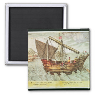 A Chinese Junk 2 Inch Square Magnet