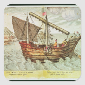 A Chinese Junk Square Sticker