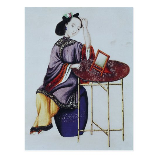 A Chinese Woman Arranging her Hair Postcard
