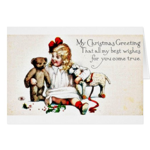 A chirstmas greeting with a girl holding toys in h greeting cards