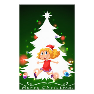 A christmas card template with a happy young girl