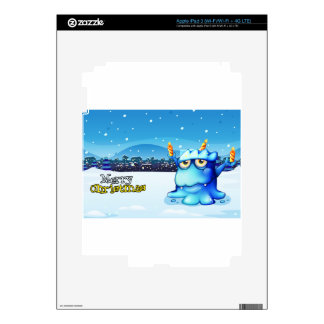 A christmas card with a blue monster carrying cand iPad 3 decals
