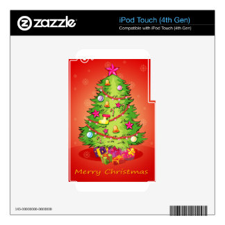 A christmas card with a giant christmas tree with iPod touch 4G skin