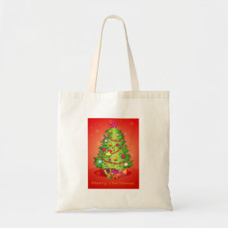 A christmas card with a giant christmas tree with tote bag