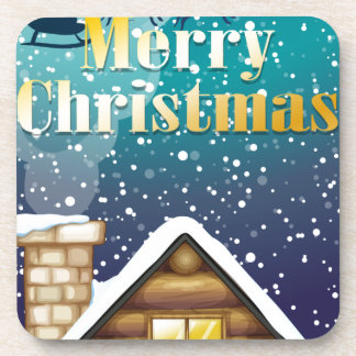 A christmas card with a wooden rooftop and a sleig beverage coaster