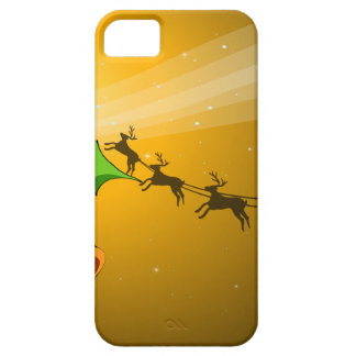 A christmas card with bells and a sleigh with rein iPhone SE/5/5s case