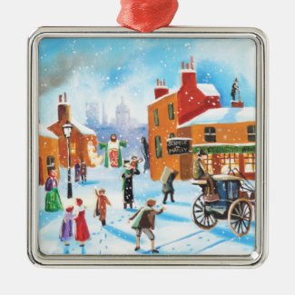 A Christmas Carol Scrooge and Tiny Tim by G Bruce Metal Ornament
