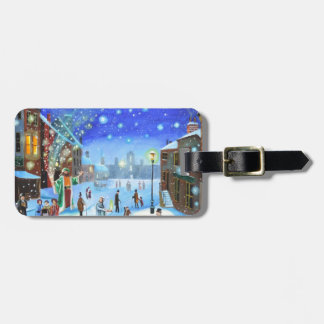 A Christmas Carol Scrooge Winter street scene Bag Tag