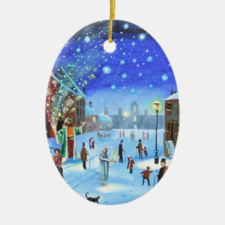 A Christmas Carol Scrooge Winter street scene Ceramic Ornament