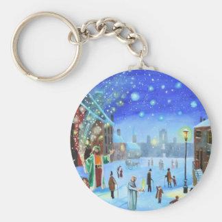 A Christmas Carol Scrooge Winter street scene Keychain