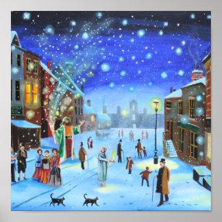 A Christmas Carol Scrooge Winter street scene Poster