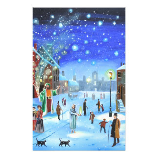 A Christmas Carol Scrooge Winter street scene Stationery