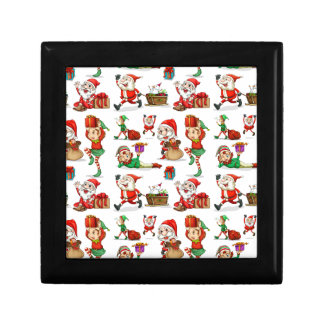 A christmas design with elves gift box