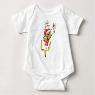 A christmas football wearing a christmas hat baby bodysuit