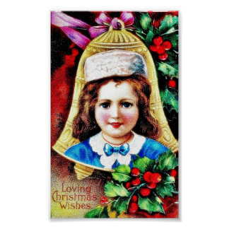 A christmas greeting with a child photo in the bel poster