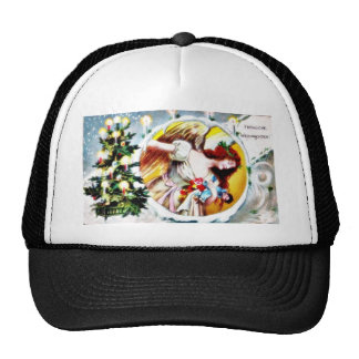 A christmas greeting with decorated christmas tree hats