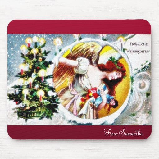 A christmas greeting with decorated christmas tree mousepad