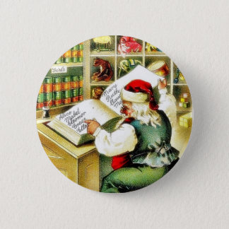 A christmas greeting with santa claus reading a bo button