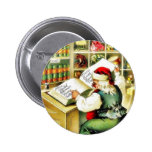 A christmas greeting with santa claus reading a bo pinback button